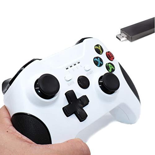 GRJKZYAM Gamepad Mejorado para Control Inalámbrico para Xbox One/One S/One X / PS3 / One Elite/Windows 10 | Gamepad Inalámbrico 2.4G con Doble Vibración