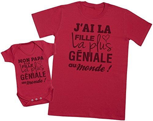 Zarlivia Clothing Mon Papa a la Fille la Plus géniale au Monde! - Ensemble Père Bébé Cadeau - Hommes T-Shirt & Body bébé - Rouge - XL & 18-24 Mois