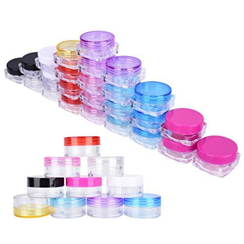 LegendTech 60 Pièces Contenants Cosmétiques en Plastique Récipient Cosmétique - Vides Jars Cosmétiques de l'Echantillon Boîte Pot Jar Vide - Stockage Containers Jars Fard à Paupières Poudre Crèmes Make-Up Glitter - 10 couleurs