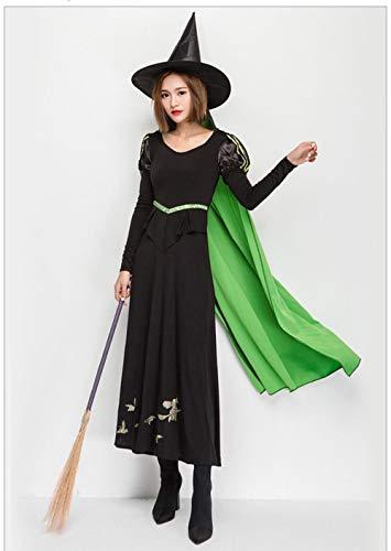 Erfhj Volwassenen dames heks Halloweenkostuum maxi-jurk zwart kostuum Cosplay kostuum meisjes oversized