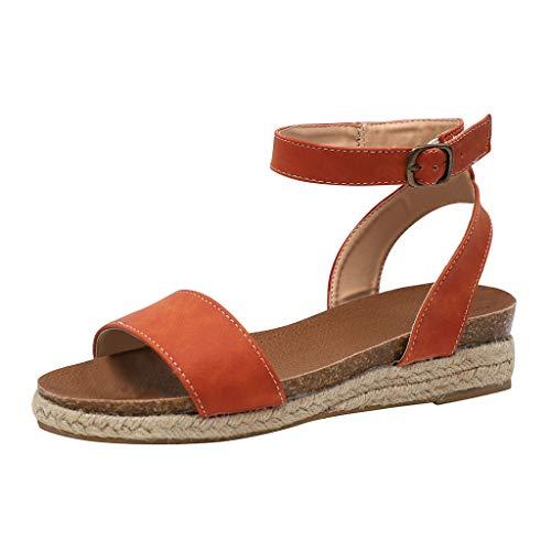 Damen Sommer Flach Sandalen Peep Toe Bequeme Espadrille Kreuzgurt Geflochtene Sandaletten, Plateausohle Badesandale Elegante Sommerschuhe Celucke