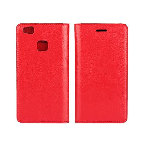 Copmob Huawei P9 Lite Cover,Premium Flip Portafoglio Custodia in Pelle,[Funzione di Staffa] [3 Slot per schede] [Drop Resistance],Scratchproof Leather Case per Huawei P9 Lite - Rosso