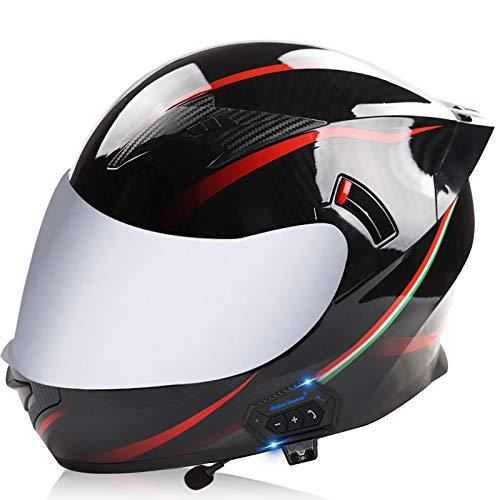 Casco Moto Bluetooth ECE Certificato Casco Modulare da Moto Integrato Con Anti-Nebbia Doppio e Corno,per Mountain Bike Motocross Tappi di Sicurezza S,L
