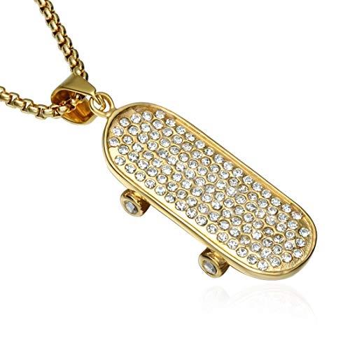 KERVINFENDRIYUN YY4 Hip Hop Hiphop Edelstahl Kristall Skateboard Anhänger Goldkette (Color : Gold)
