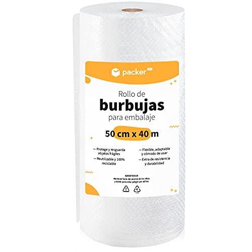 packer PRO Rollo Burbujas Embalaje de Plástico, 50cm Ancho y 40m longitud