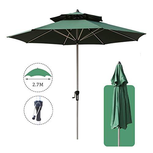 TX Parasol Grande de Jardín Sombrilla para Exterior Desmontable con Manivela de Apertura Fácil, Doble Tejido de Poliéster y Mástil de Aluminio Φ270x270cm