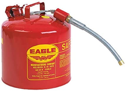 """Eagle U2-51-S Red Galvanized Steel Type II Gas Safety Can with 7/8"""" Flex Spout, 5 gallon Capacity, 13.5"""" Height, 12.5"""" Diameter,Red/Yellow: image"""