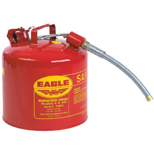 Eagle U2-51-S Red Galvanized Steel Type II Gas Safety Can with 7/8' Flex Spout, 5 gallon Capacity, 13.5' Height, 12.5' Diameter,Red/Yellow