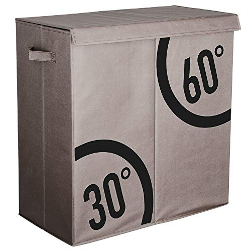 Panier à linge double bacs DUTRI gris, L 60 x P 30 x H 60 cm.