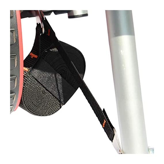 """Onefeng Sports 175LBS Kayak Cart Boat Carrier with Adjustable Width Axle for Carring Kayaks Canoes Spring Button Design… 6 ☀【ADJUSTABLE POLES】The distance between 2 poles is adjustable from 24-40cm(9.4""""-15.7""""). ☀【NEW TIRES】Plastic tires with rubber sheaths,won't slip.Tires are environment-friendly,odourless smelless.Size:25×7cm(9.8""""×2.7"""") ☀【PADDED DESIGN & MATERIAL】Black cover to protect your kayak or canoe.Made of Stainless Steel.Capacity:175 lbs.as been inserted into the trolley tube so don't worry to loss.We have fixed the strap(10ft) on the rubber cones,easy to fasten the kayak."""