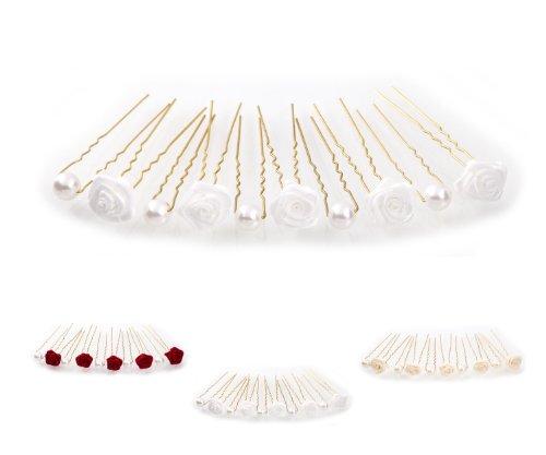 10 Forcine con rose e perle - Accessori per capelli da sposa - Set oro - Bianco