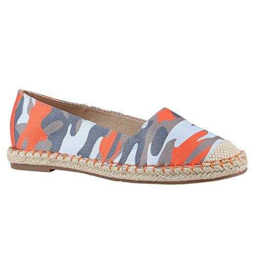 stiefelparadies Modische Damen Bast Slipper Metallic Espadrilles Ethno Look Schuhe 142228 Rot Camouflage 37 Flandell
