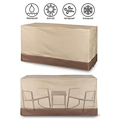 "Andals Patio Furniture Set Covers Outdoor 100% Waterproof 600D Oxford Polyester Durable Heavy Covers Suitable for 3 Pieces Rocking Sets Size 68"" x 30"" x 36"", Beige & Brown"