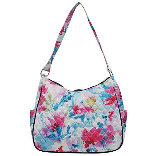 Ngil Quilted Cotton Hobo Shoulder Bag (Summer Water Color Navy)