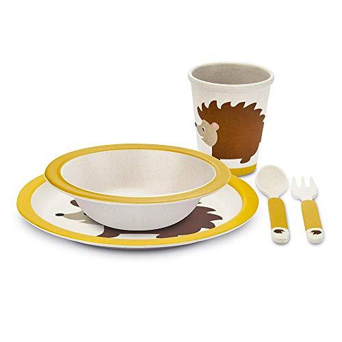 TOUS LES CADEAUX Coffret de Vaisselle pour Enfant - en Bambou - Herisson
