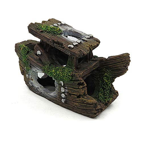 Lefunpets Aquarium Shipwreck Decorations Fish Tank Ornaments, Resin Sunken Ship Decor, Hideout for Aquarium Betta Fish Decorations 5 to 10 Gallon