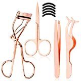 Arroyner 4Pcs Eyelashes Tool Fake Lash Applicator Eyelash Curlers Eyebrow Scissors (Rose Golden)