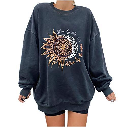 Lange Ärmel Pullover Damen Winter Pullover mit Rundhalsausschnitt, Vintage Sweatshirt Oversized Bunter Cartoons Pullover Teenager Mädchen Sportbekleidung Sweatshirt for Women (Dunkelgrau, M)