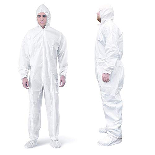 AMAZING Disposable SF Coverall. White Adult Full Body Protective Suit of Laminated Polypropylene 60 gsm. Large PPE Workwear with Microporous Film, Hood, Boots, Zipper, Elastic Wrists for Painting.