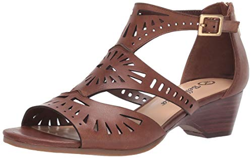 Bella Vita Women's Penny Cutout Sandal with Back Zipper Shoe, Camel Burnish Leather, 8 M US
