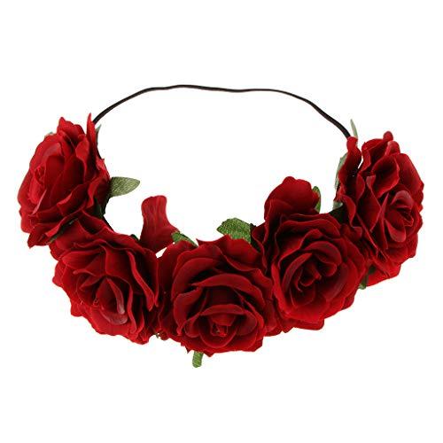 Stirnband Blumen Haarband Boho Haarschmuck Kopfband Kopfbedeckung Blumenkranz für Hochzeit und Party - rot