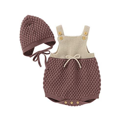 Geagodelia Conjunto de 2 piezas de pelele de punto para bebé + gorro de bebé de invierno marrón 3-6 Meses