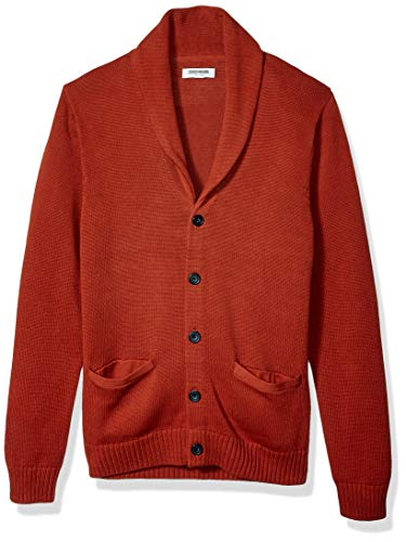 Amazon Brand - Goodthreads Men's Soft Cotton Shawl Cardigan, Rust Large