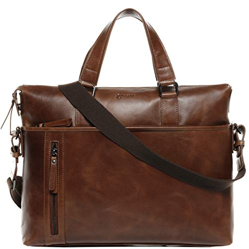 BACCINI Laptop Bag Leandro Large Business Briefcase Real Leather 15.4 inch Laptop Portable Computer Satchel Leather Bag Men´s Bag Brown