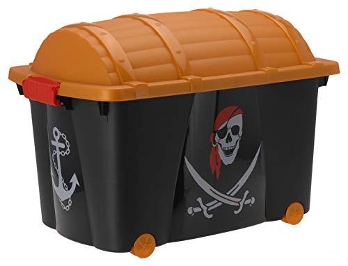 Aufbewahrungsbox für Jungen mit 57 Liter Volumen - Piratenbox - Spielzeugtruhe Pirat Spielzeugbox Kinderzimmer Aufbewahrungsbox