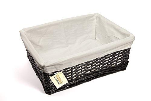WoodLuv Large Wicker Storage Basket with White Lining, Black by Unknown