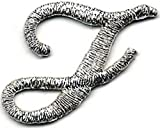 1 1/8'' Fancy Metallic Silver Script Cursive Alphabet Letter J Embroidered Patch