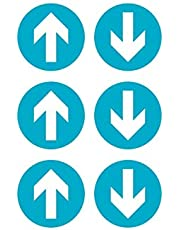 Equipo 6 pegatinas flecha para señalización de suelo | Pegatina de 20 cm | Señalización con certificado antideslizante para actividades comerciales y tiendas | Pegatinas para suelo de Azzurro