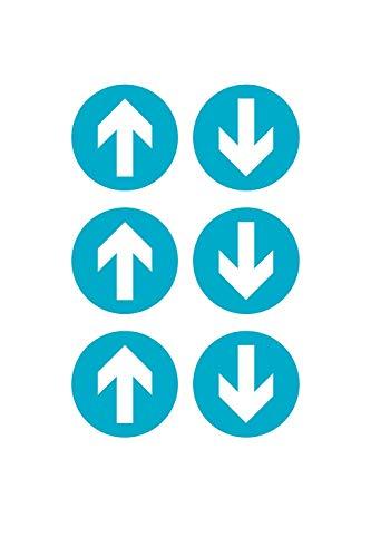Kit 6 adesivi freccia per segnaletica da pavimento dim. 20 cm | Segnaletica certificata antiscivolo per attività commerciali e negozi | Disponibili in 2 colori (Azzurro)