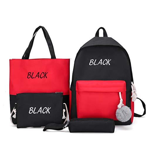 4 Teile/Satz Leinwand Rucksack Schultaschen Set Für Jugendliche Mädchen, Casual Daypack, Umhängetasche, Federmäppchen, Schultasche Für Mädchen Nette Mini Reisegeschenk (Schwarz)