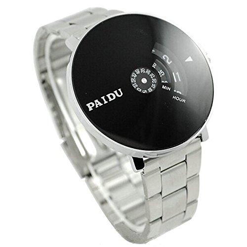 Yogogo Herren Quartz Analog Armband, 1 Cent Artikel Armbanduhr | Edelstahlband | Dekoration | Geschenk | Alugehäuse | Quarzwerk | Wasserdicht | Sportuhr | Drehscheibe Dial | 20.5cm Bandlänge (Silber)