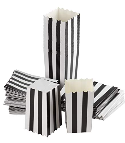 Set of 100 Popcorn Favor Boxes - 20oz Mini Paper Popcorn and Candy Containers, Great for Halloween Party Supplies, Carnival, Birthday, Baby Shower, Black and White Stripes - 3.3 x 5.5 x 3.3 Inches