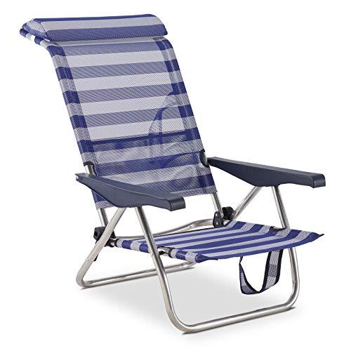 Solenny 50001072725298 50001072725298-Silla de Playa Cama Plegable 4 Posiciones Respaldo Bajo con...