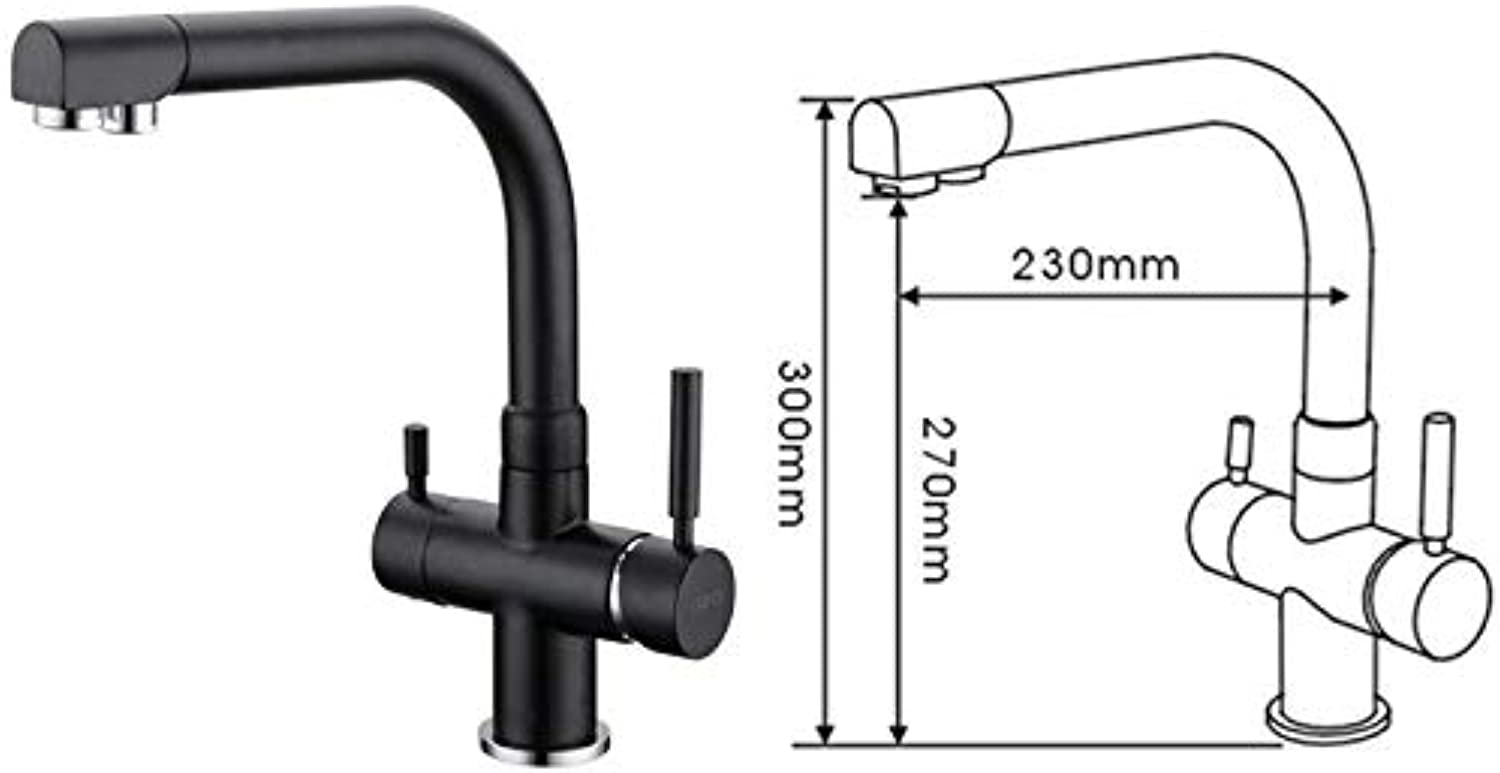 Lrsny All copper kitchen faucet, clean faucet, cold and hot black faucet,A