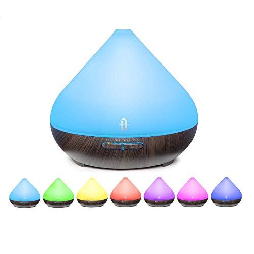 TaoTronics 300ML Diffusore di Aromi Ultrasuoni Vaporizzatore 7 Colori LED, Oli Essenziali, Purificatore Aria, Diffusore Essenze, Controllo per Vaporizzazione e Illuminazione, Timer, Auto Spegnimento