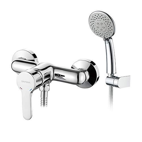 GRIFEMA PORTO-G12003   Duscharmatur - Brausebatterie mit Brauseschlauch, Handbrause mit 5 Funktionen, und Brausehalter   Einhebel-Brausemischer-Dusche set, Chrom