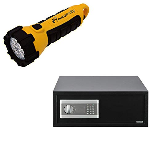 Toucan City LED Flashlight and Stalwart 1.4 cu. ft. Electronic Large Digital Steel Safe for Laptops and Tablets 65-EC-40