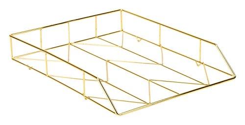 U Brands Desktop Letter Tray, Wire Metal, Gold
