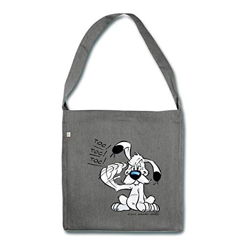 Spreadshirt Asterix & Obelix Idefix Klopft Toc Toc Toc Schultertasche aus Recycling-Material, Dunkelgrau meliert