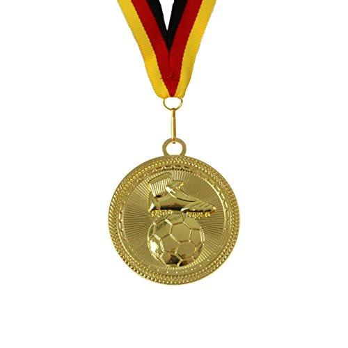 pokalspezialist 10 Stück 7 cm extra große und schwere Medaille Fußball Gold inklusive Band