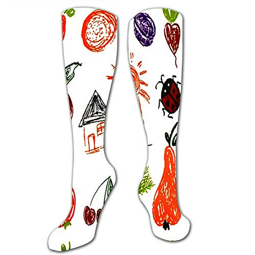 txregxy Compression Socks For Men Women Draw Pictures Doodle Beautiful And Bright Design