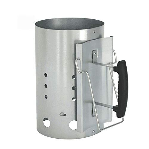 Zhuowei Anzündkamin Grillkohleanzünder Grillkamin Anzünder mit Sicherheitsgriff aus Kunststoff,Silber