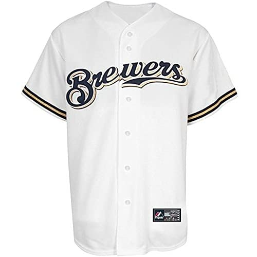 25f9041dd6c Majestic Milwaukee Brewers Mens White Replica Baseball Jersey Big   Tall  Sizes