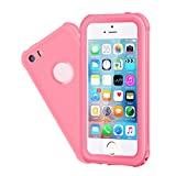 Waterproof iPhone 5/5S/SE Case, EFFUN IP68 Certified Waterproof Dustproof Snowproof Shockproof Case Fully Sealed Underwater Cover with Built-in Screen Protector for iPhone 5/5S/SE Pink