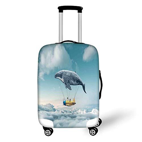 Reizen Bagage Cover Koffer Beschermer, Vliegtuig Decor, Droom Luchtschip Fee Fantasie Over De Wolken Cloudscape Walvis Aarde Planeet Decoratief, Grijs Geel Blauw, voor Reizen