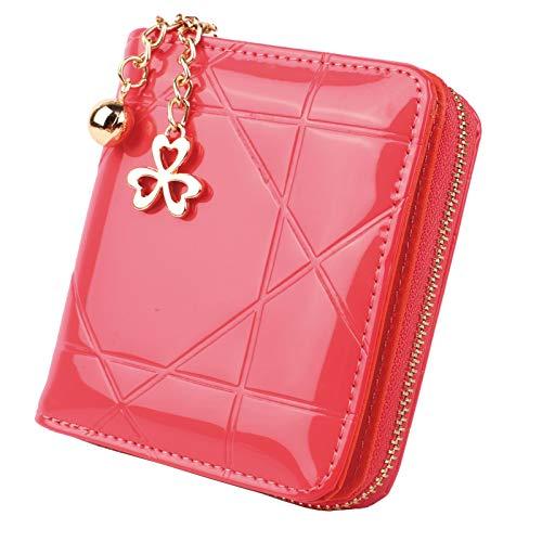 Geldbörse Damen Klein PU Leder Mini Münze Portmonee mit Reißverschluss mit 8 Kartenfächer Geldbeutel Brieftasche für Frauen mit Herzanhänger Rosa